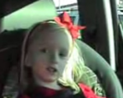 Cover Me Badd: Cake � The Distance � performed by a little girl in the backseat.
